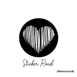 Nr 06. Sticker Zwart Streepje Wit Hart